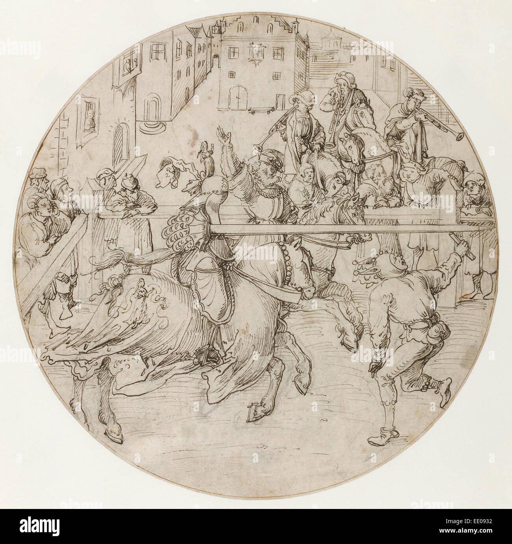 Tournament Scene; Jörg Breu the Elder, German, about 1475/1476 - 1537; Germany, Europe; about 1510 - 1515; - Stock Image