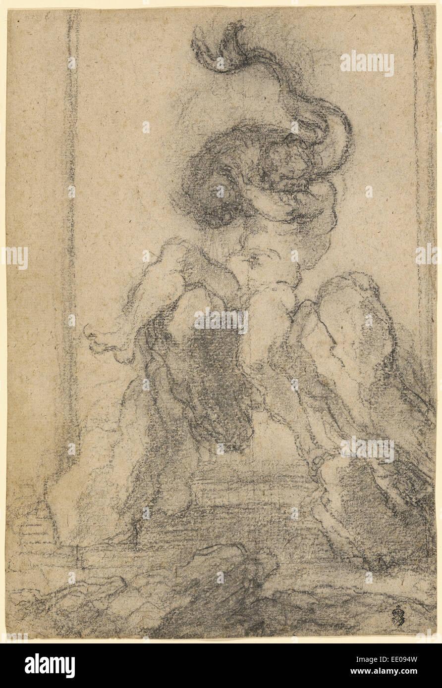 A Marine God with a Dolphin; Gian Lorenzo Bernini, Italian, 1598 - 1680; Italy, Europe; 1652 - 1653; Black chalk - Stock Image