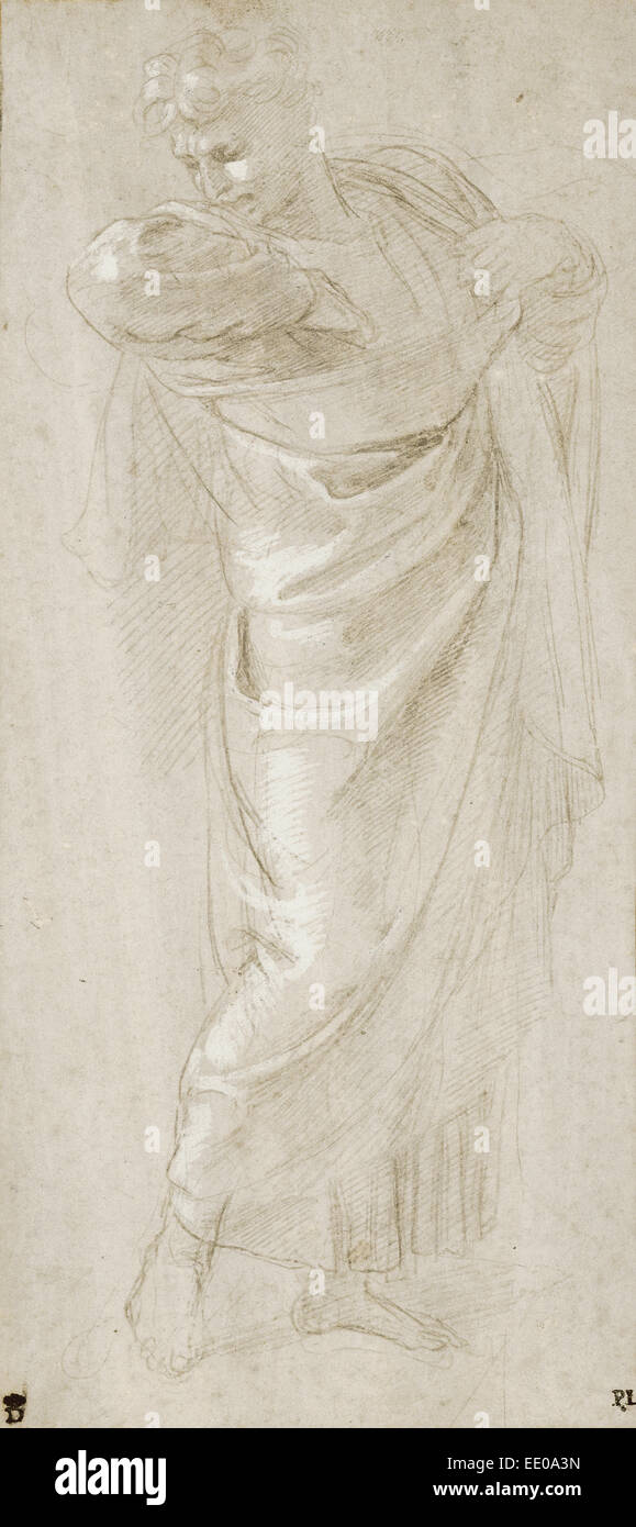 Saint Paul Rending His Garments; Raphael (Raffaello Sanzio), Italian, 1483 - 1520; about 1515 - 1516; Metalpoint - Stock Image