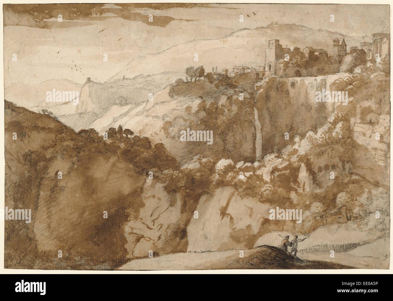 View of Tivoli (recto),  View of Tivoli (verso); Claude Lorrain (Claude Gellée), French, 1604 or 1605 ? - 1682; Stock Photo
