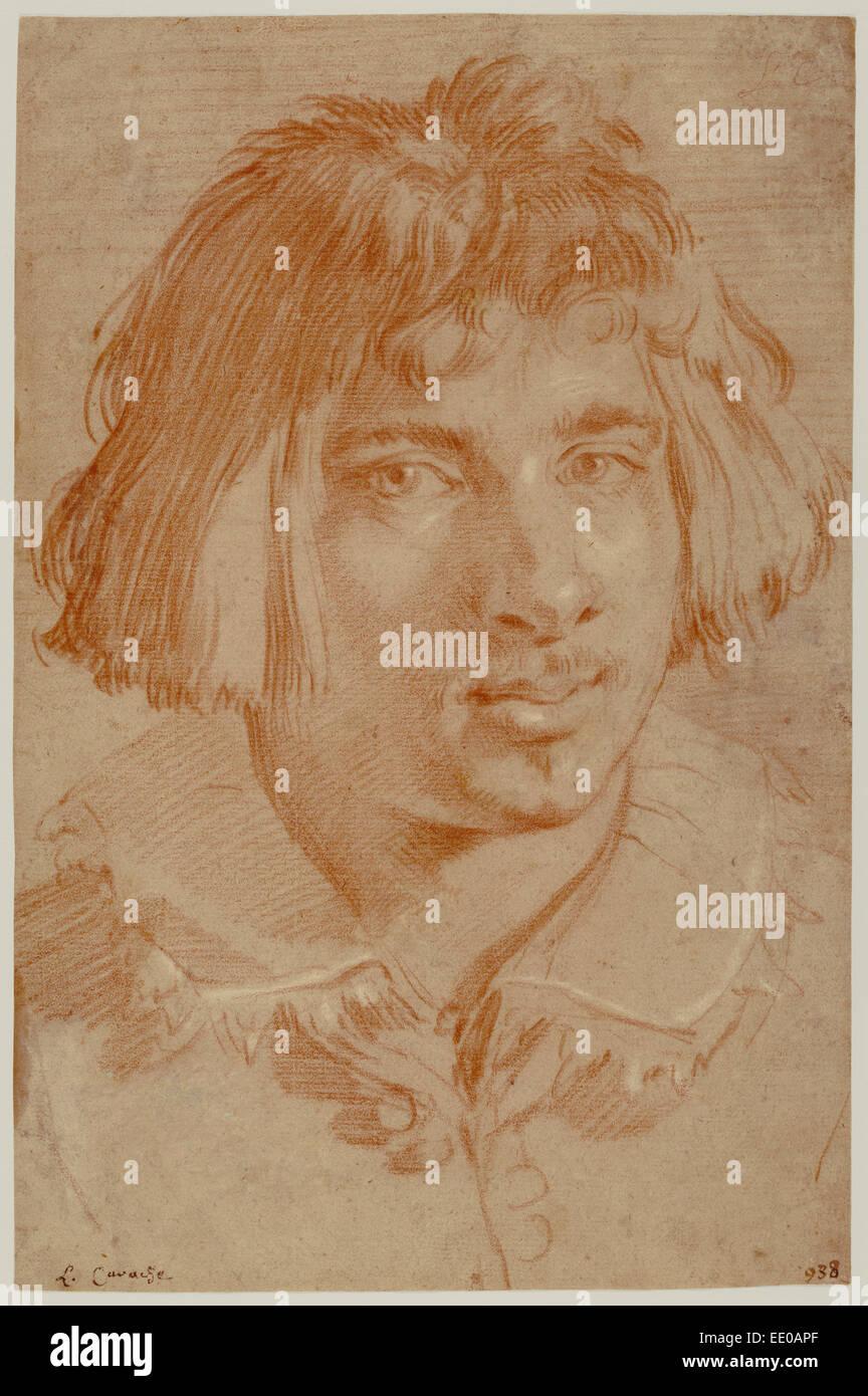 Portrait of a Young Man; Gian Lorenzo Bernini, Italian, 1598 - 1680; 1630; Red and white chalk - Stock Image