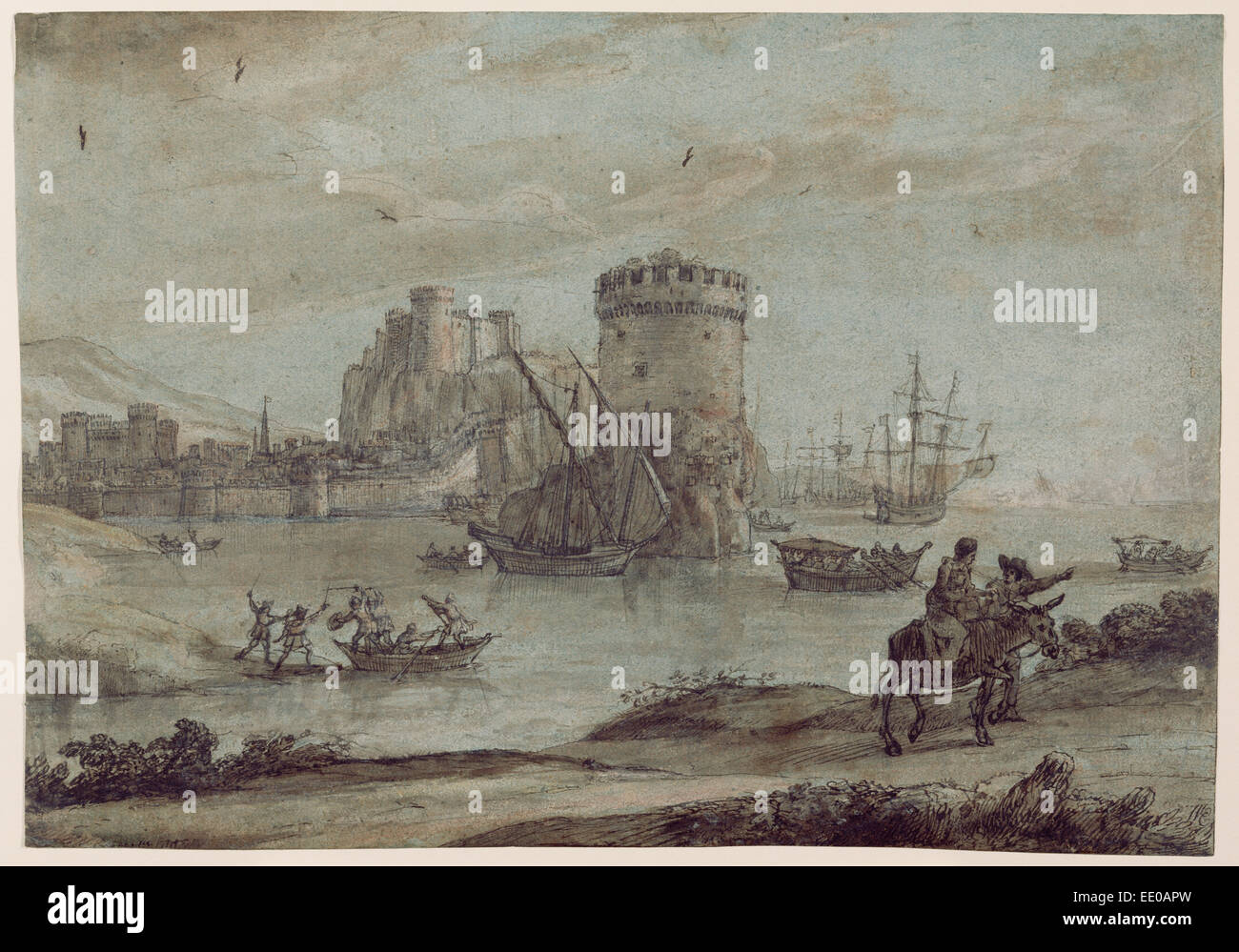 Figures in a Landscape before a Harbor; Claude Lorrain (Claude Gellée), French, 1604 or 1605 ? - 1682; France, - Stock Image