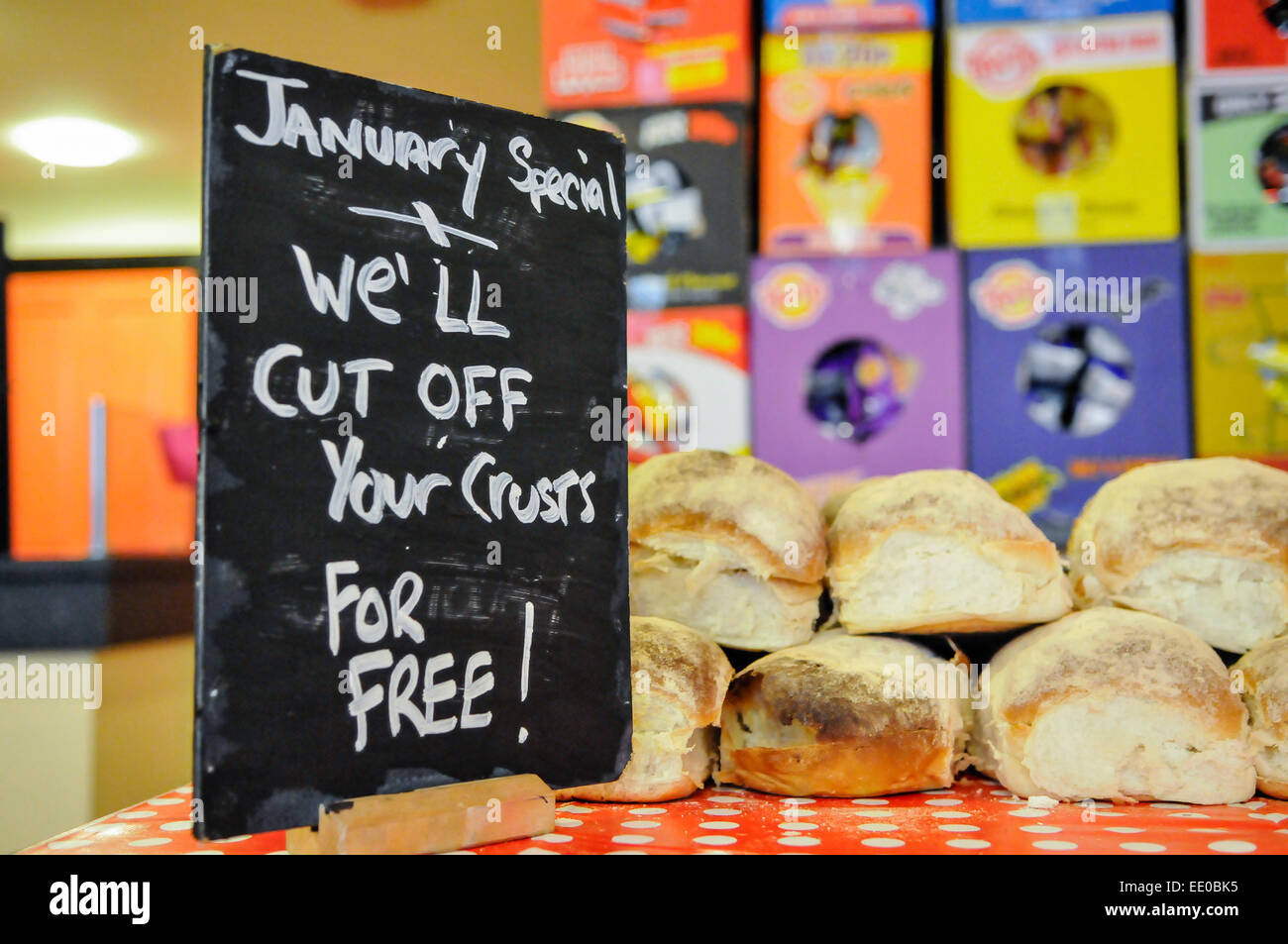 Belfast, Northern Ireland. 12th January, 2015. Staff offer to 'cut off your crusts' during the opening of - Stock Image