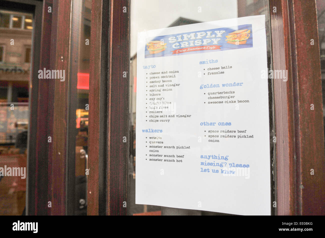 Belfast, Northern Ireland. 12th January, 2015. A menu at the entrance of the world's first 'Crisp Sandwich' - Stock Image