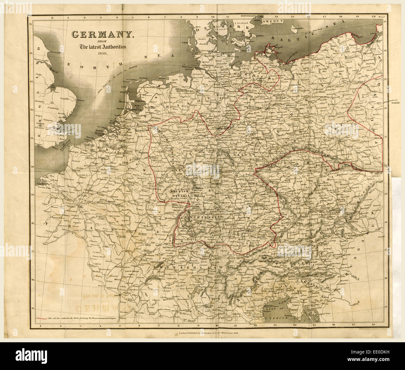 Map Germany 1836, 19th century engraving - Stock Image