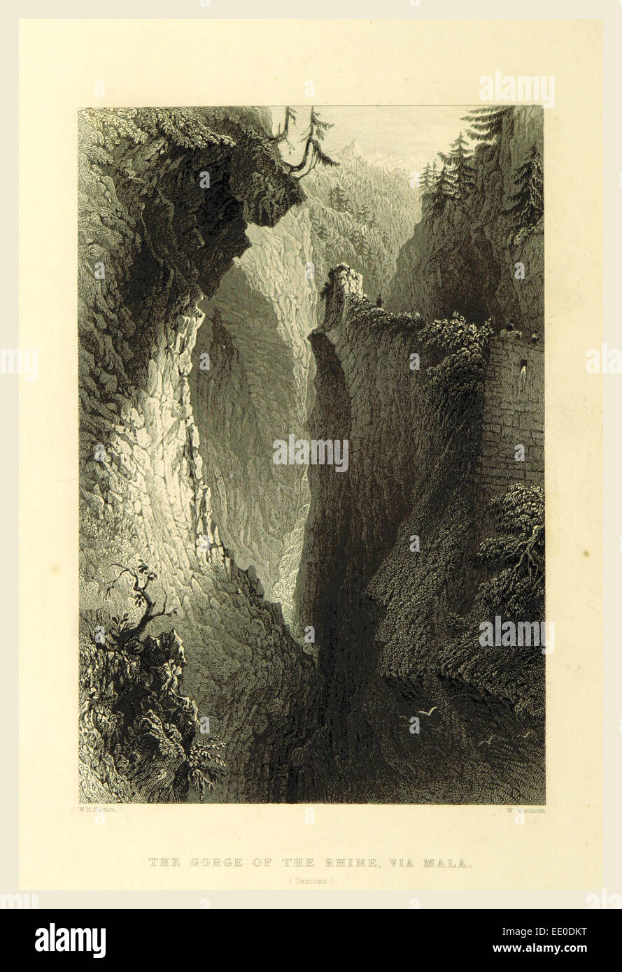 Gorge of the Rhine, Via Mala, Switzerland. Illustrated by W. H. Bartlett, 19th century engraving - Stock Image