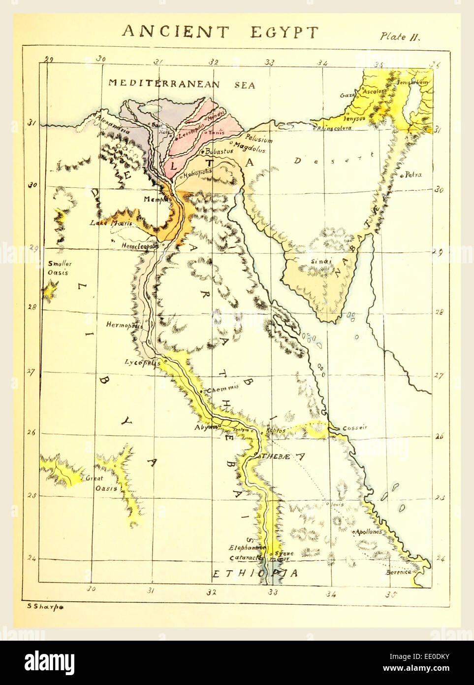 Map Ancient Egypt, 19th century engraving Stock Photo ... on map of dumah, map of magog, map of shinar, map of togarmah, map of hebrews, map of ishmaelites, map of cush, map of michmash, map of kingdom of kush, map of moreh, map of ham, map of aroer, map of japheth, map of aram, map of shem, map of nahor,