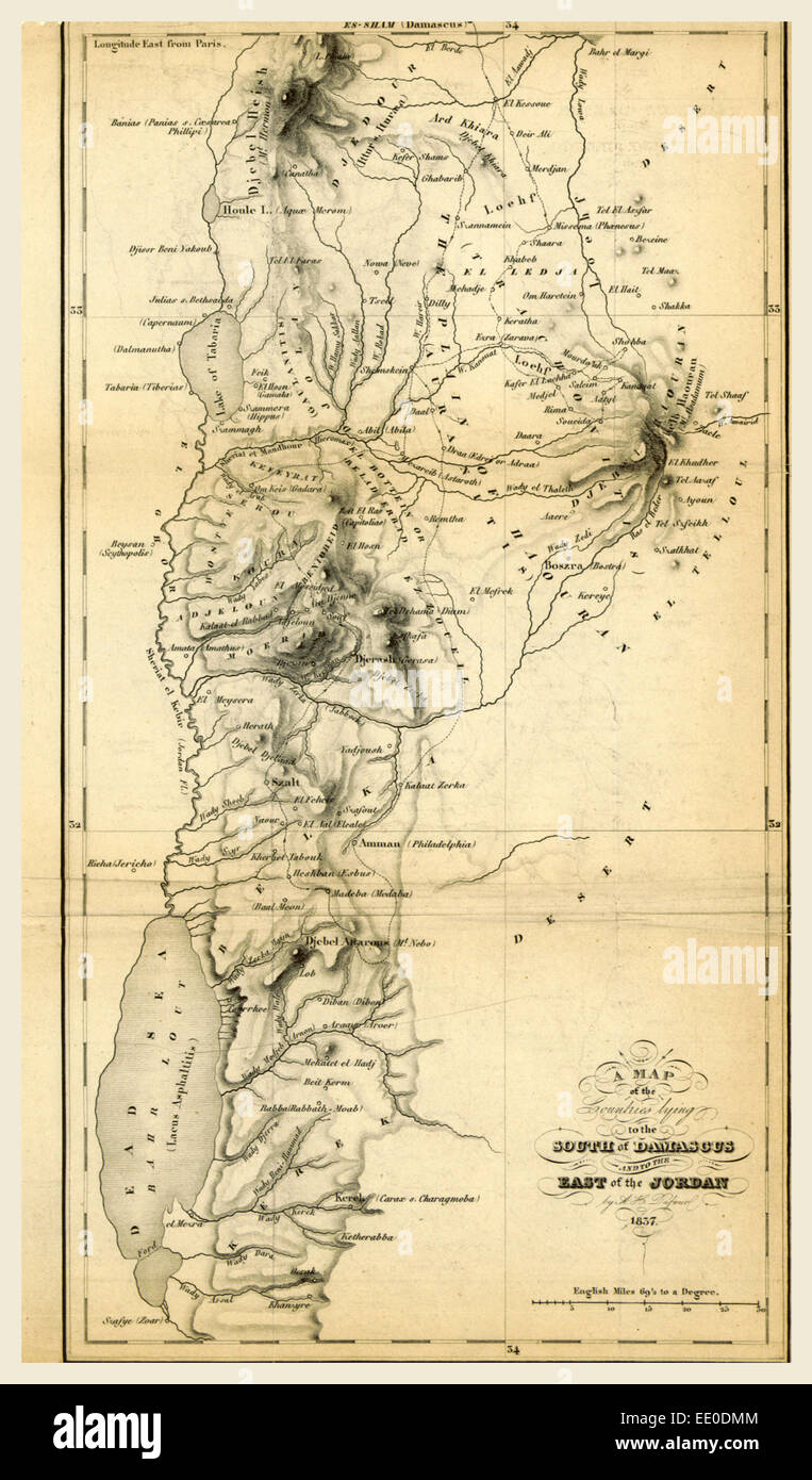 Map countries south of Damascus and east of Jordan, 19th century engraving - Stock Image