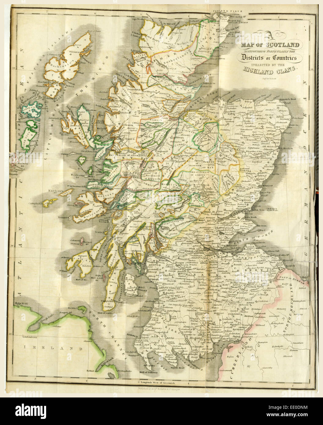A History of the Highlands and of the Highland Clans, Map of Scotland, 19th  century engraving