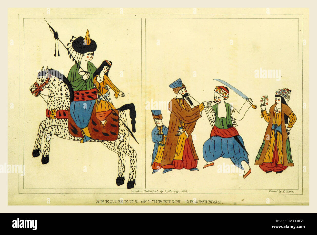 A Tour in the Levant, Turkish drawings, 1820 - Stock Image