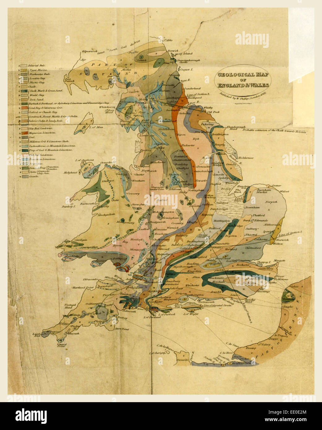 Outlines of the Geology of England and Wales, map, 19th century engraving - Stock Image