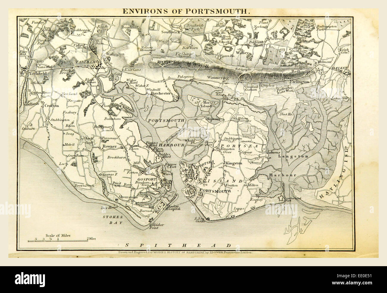 Portsmouth, Hampshire, its past and present condition and future prospects, 19th century engraving - Stock Image