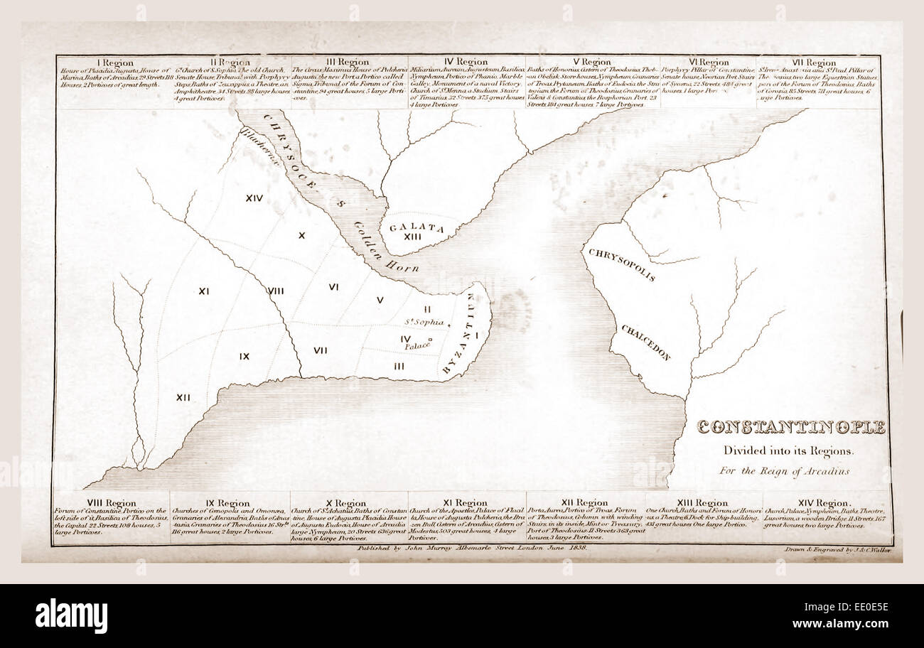 Constantinople, Istanbul, map, 19th century engraving Stock Photo ...