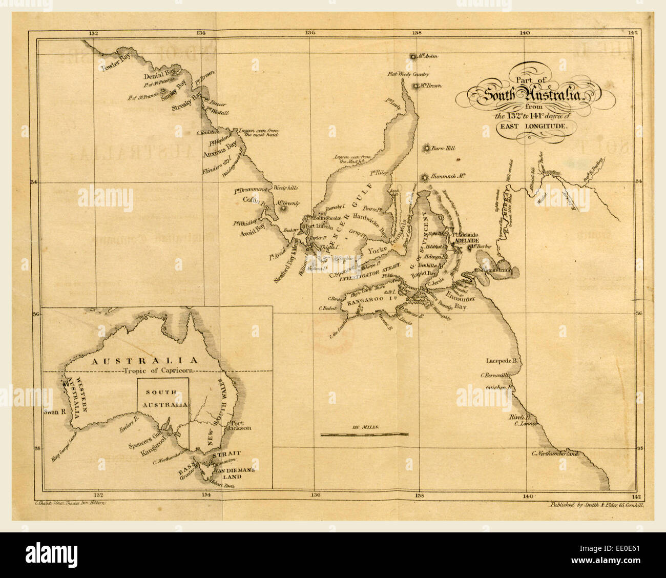 Map of South Australia, 19th century engraving - Stock Image