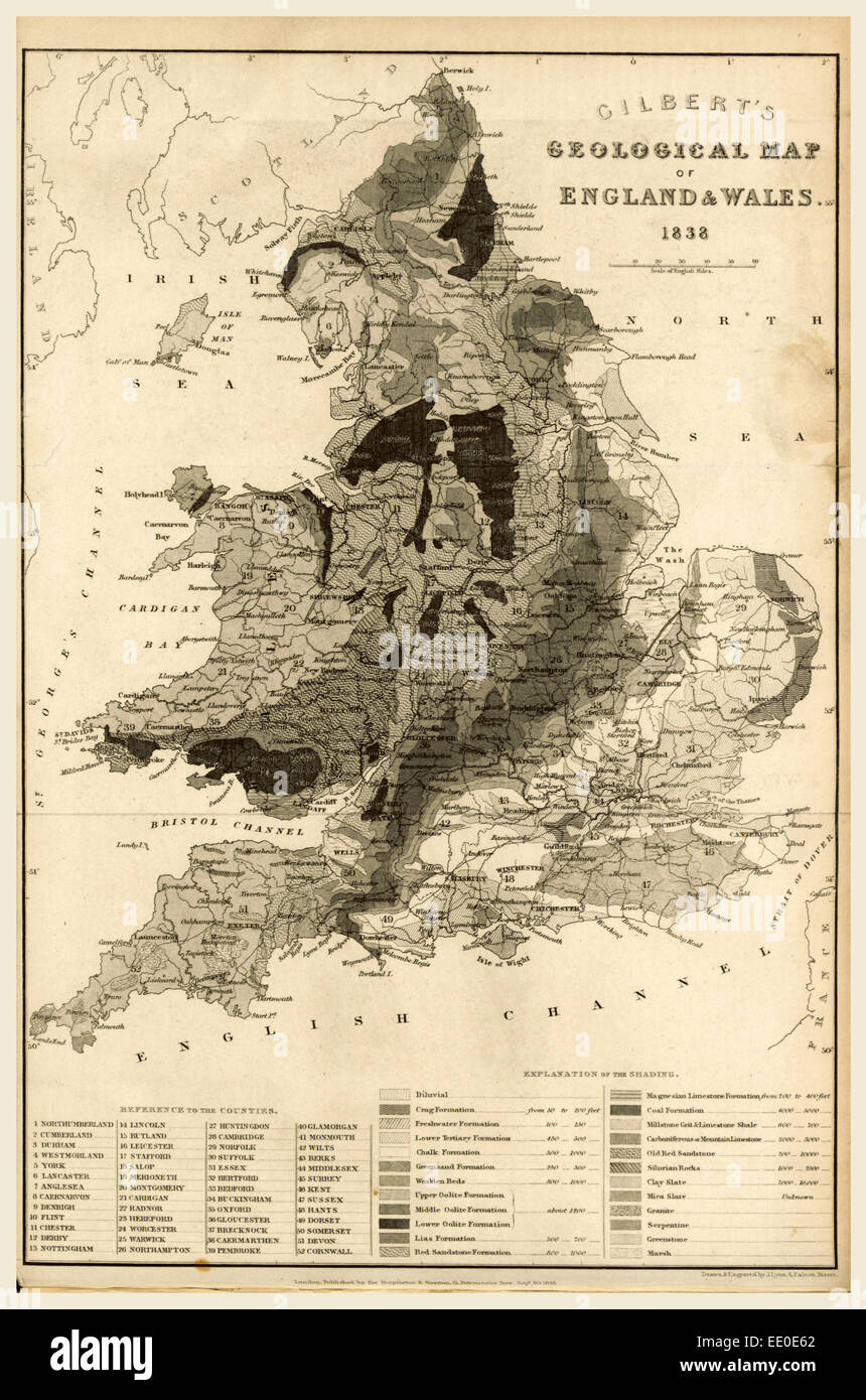 Map England and Wales 1838, 19th century engraving - Stock Image