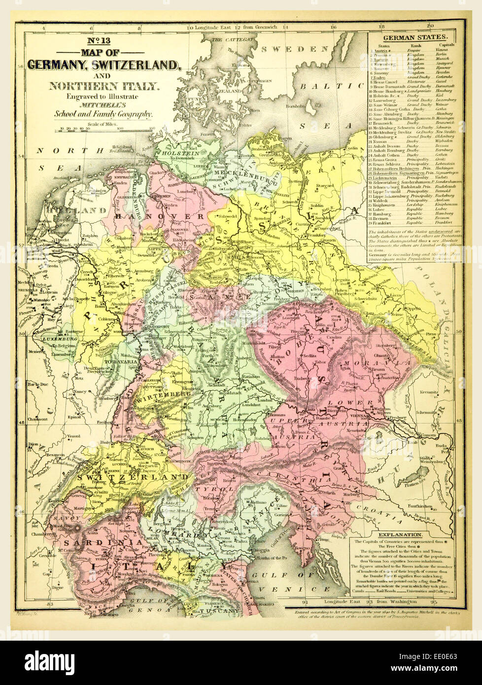 Map germany switzerland 19th century stock photos map germany map of germany and switzerland 19th century engraving mitchells atlas stock image gumiabroncs Image collections