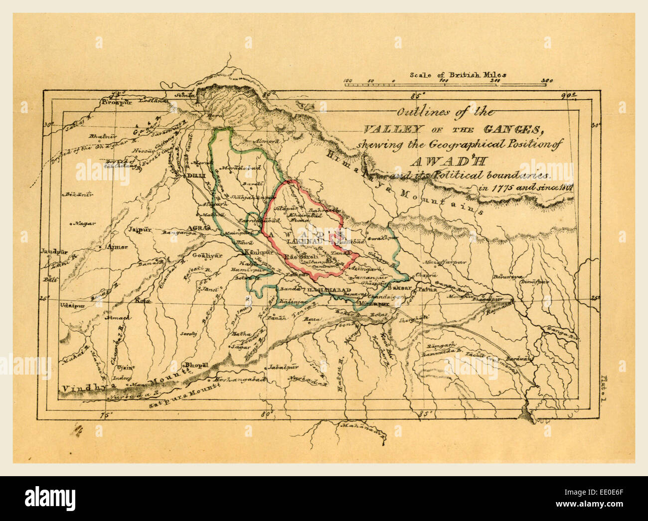 Map valley of the Ganges India, Outline of the Topography and Statistics of the Southern Districts of Oud'h - Stock Image