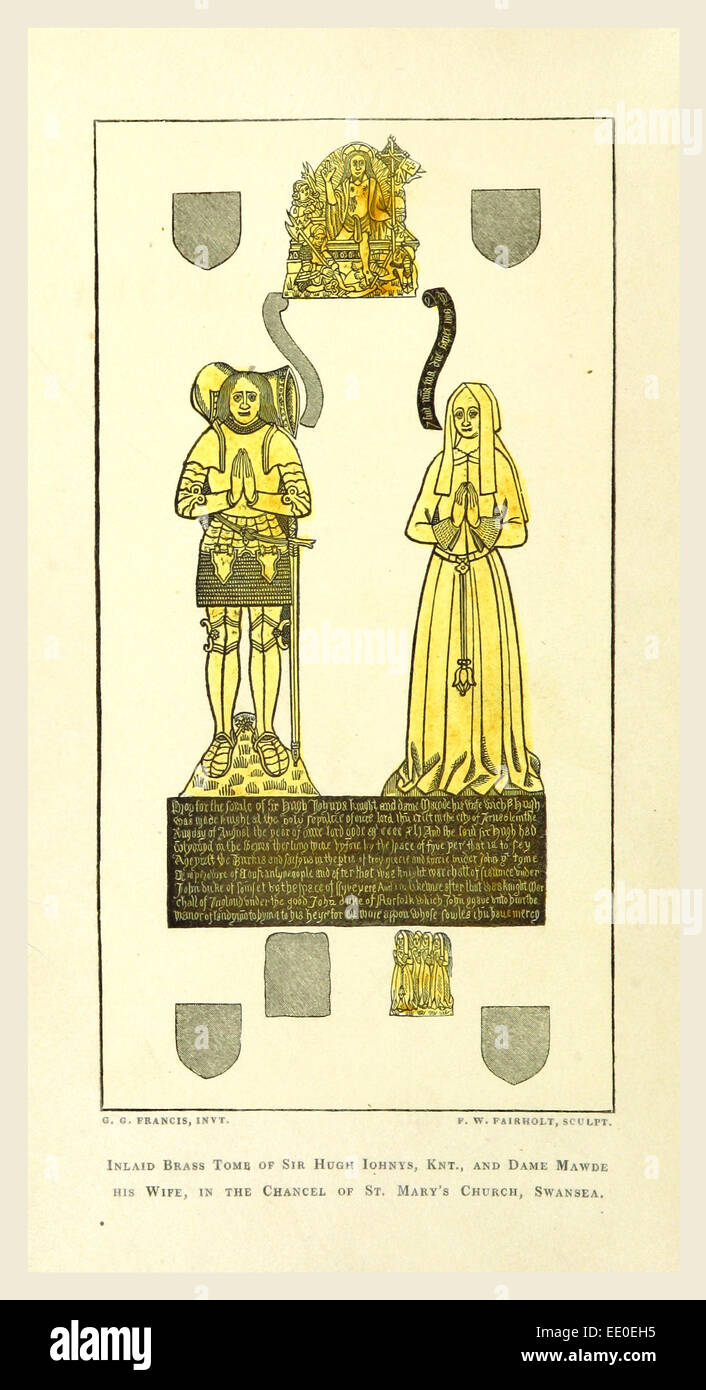 History of Swansea, tome of Sir Hugh Iohnys, 19th century engraving - Stock Image