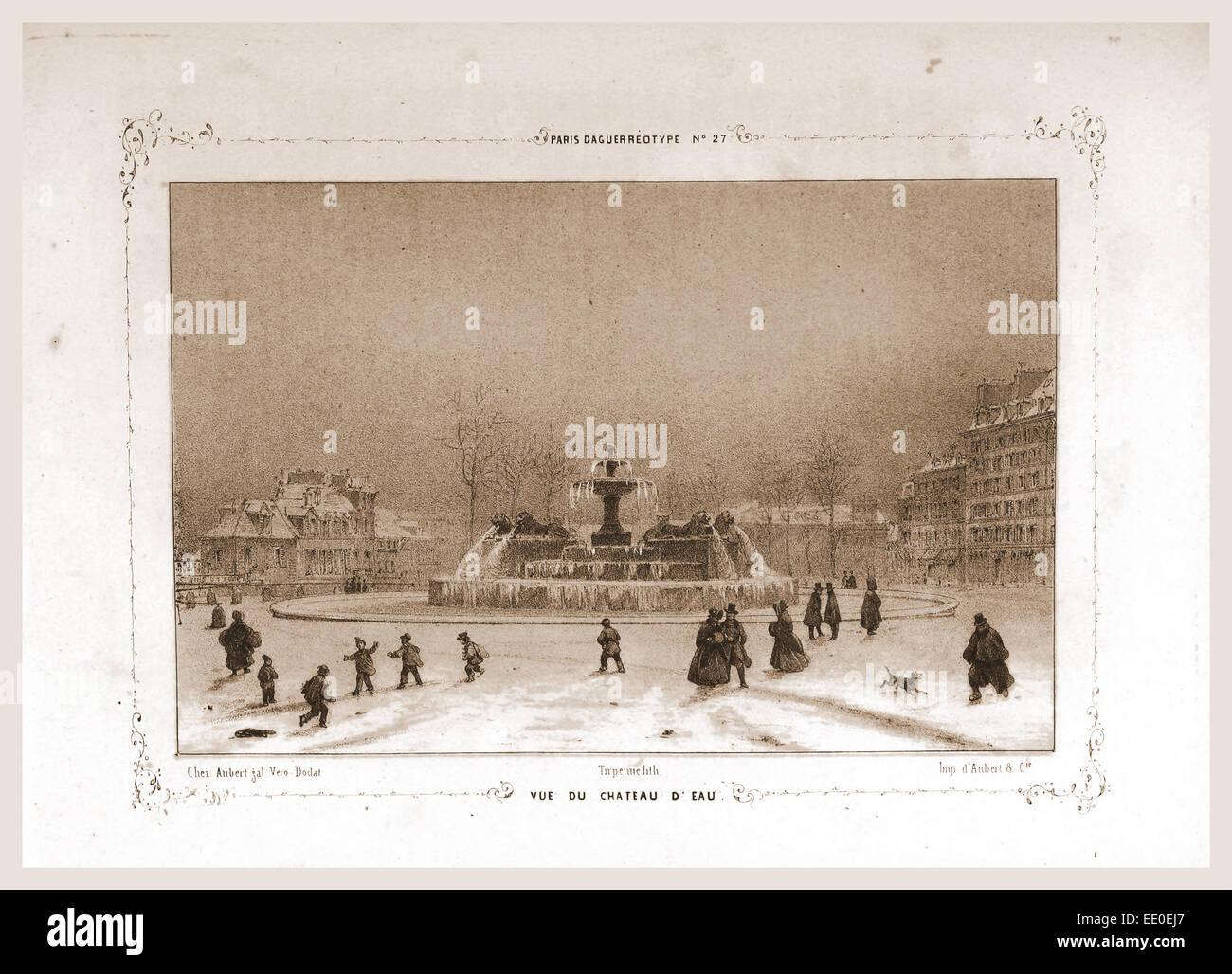 Vue de Chateau D'Eau, Paris and surroundings, daguerreotype, M. C. Philipon,19th century engraving - Stock Image