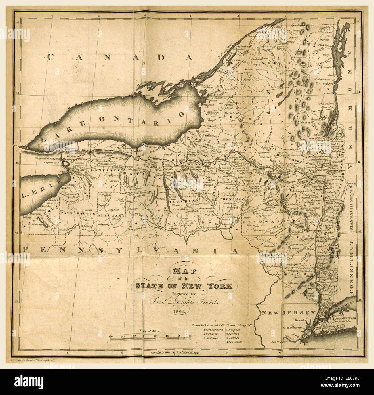 Map of the State of New York, 1823, 19th century engraving, US Stock ...
