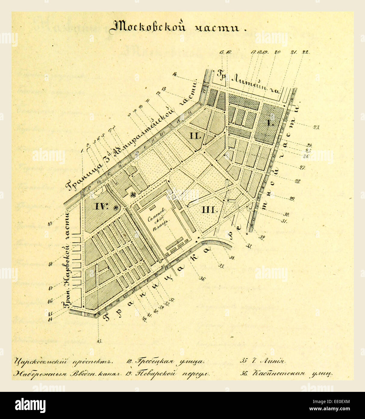 Moscow, Russia, map, 19th century engraving Stock Photo: 77458380 ...