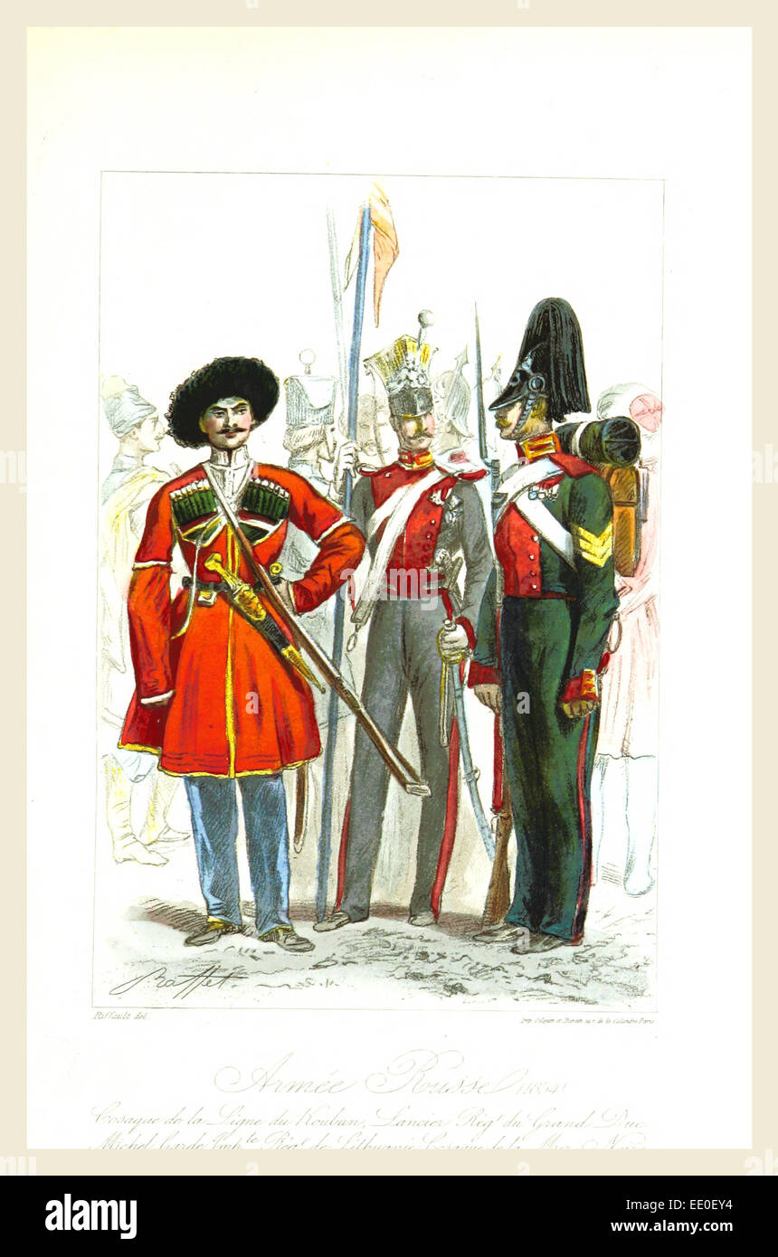 Russian army, Travel in the southern Russia and the Crimea in 1837, 19th century engraving - Stock Image