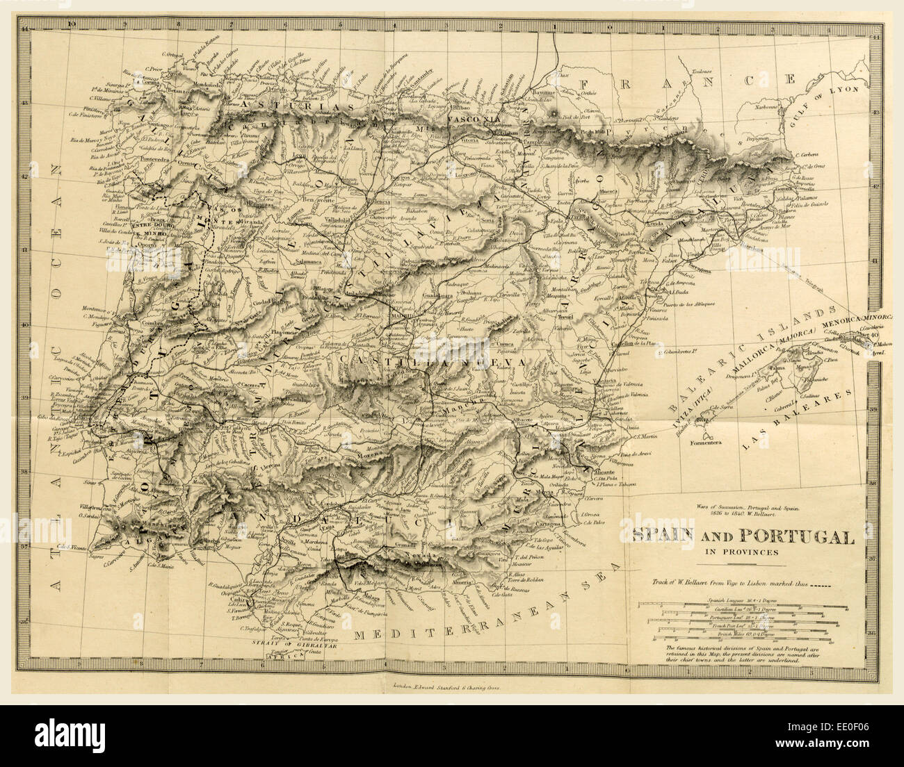 Map Spain and Portugal, The Wars of Succession of Portugal and Spain from 1826 to 1840, 19th century engraving - Stock Image