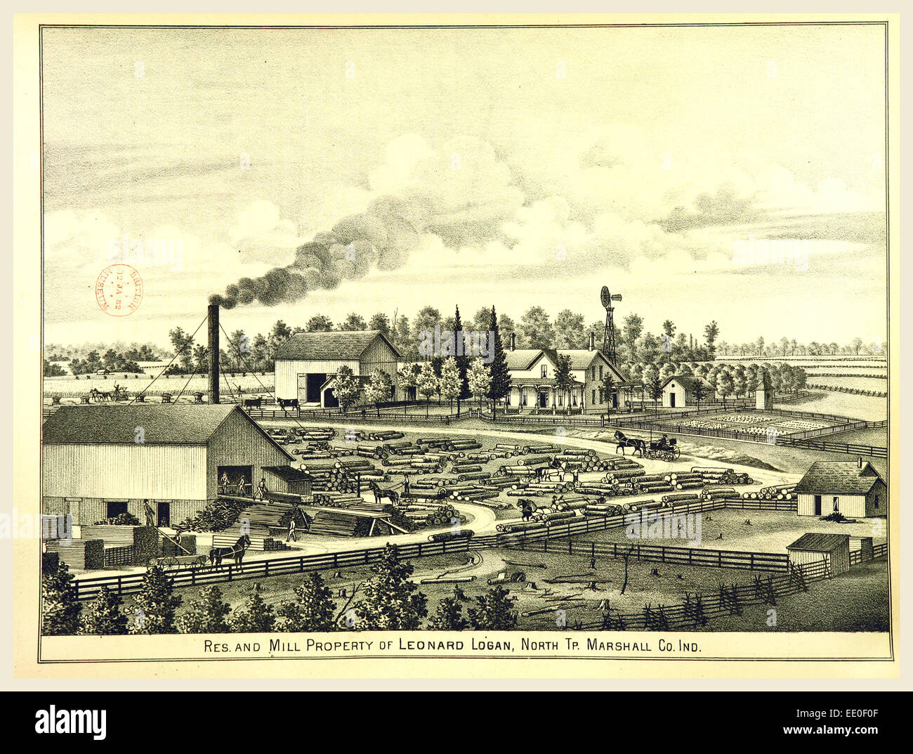 Mill, History of Marshall county, Indiana, 1836 to 1880, 19th century engraving, US, America - Stock Image