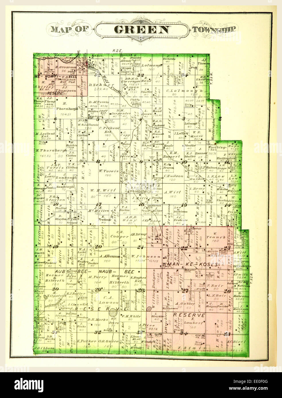 Map of Green township, History of Marshall county, Indiana, 1836 to 1880, etc, 19th century engraving, US, America - Stock Image
