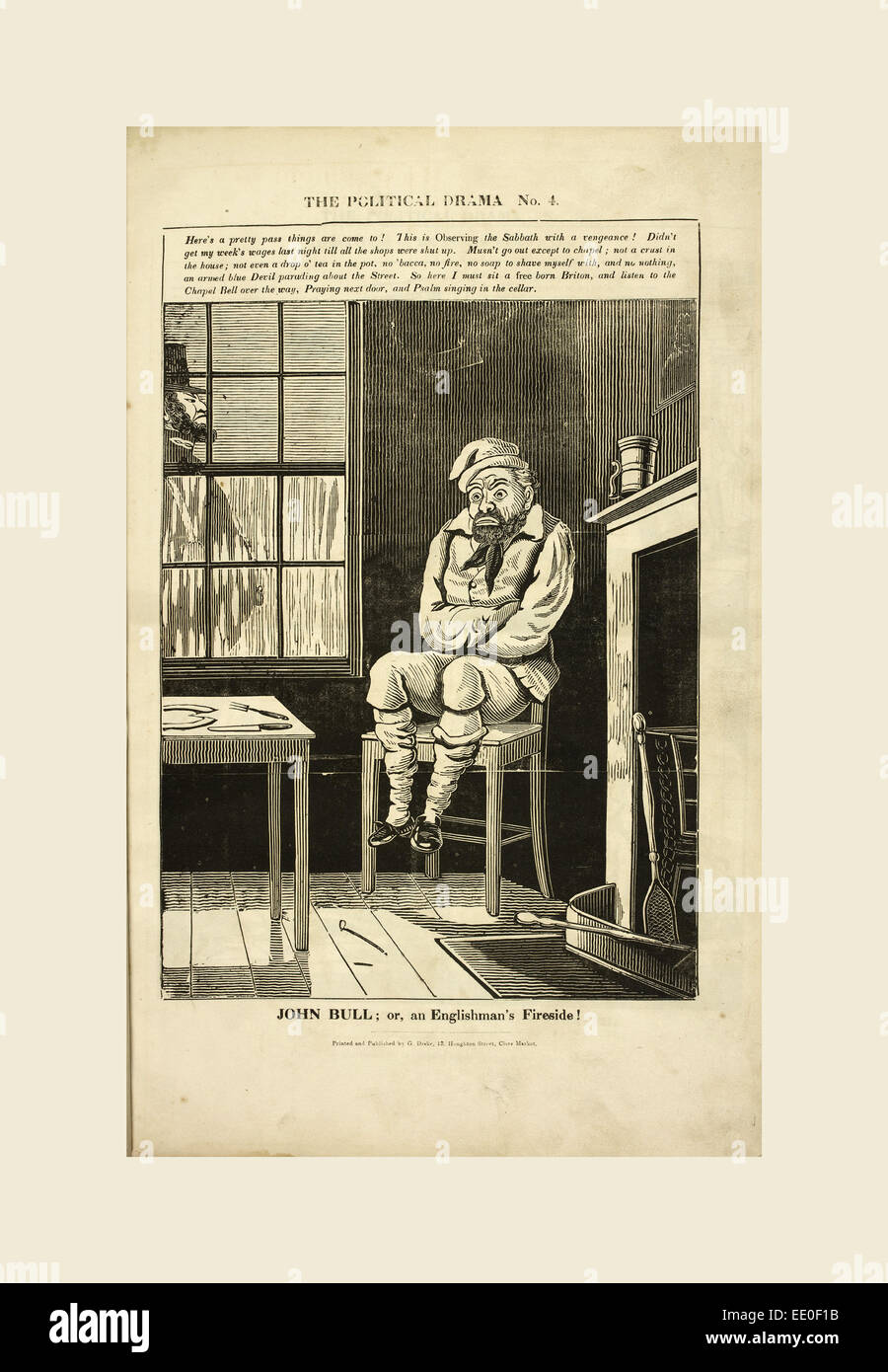 The Political drama. A series of caricatures, 'John Bull or an Englishman's fireside!' In a room an - Stock Image