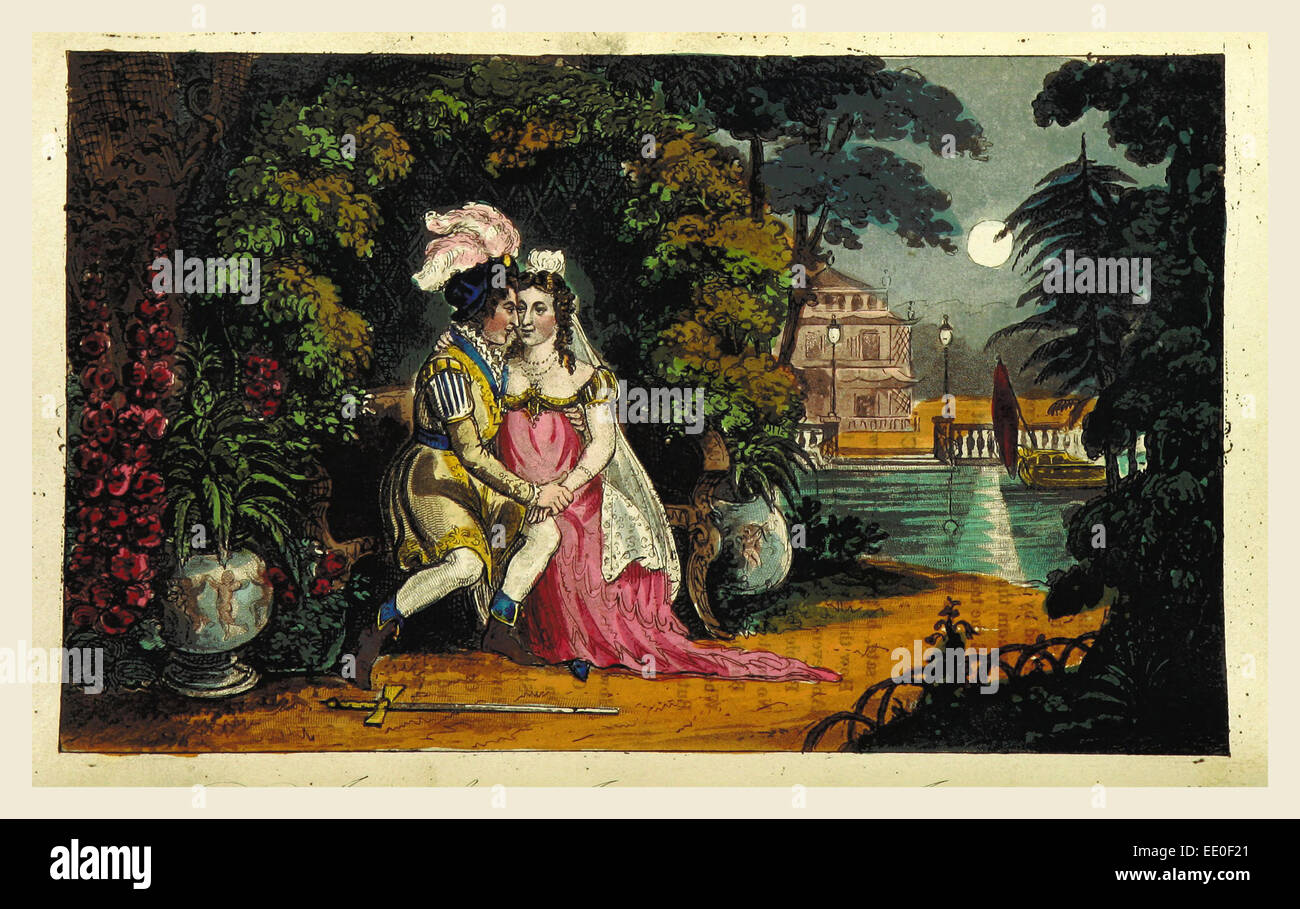 Don Juan. Cantos I.-V.  illustrations by I. R. Cruikshank, 19th century engraving - Stock Image