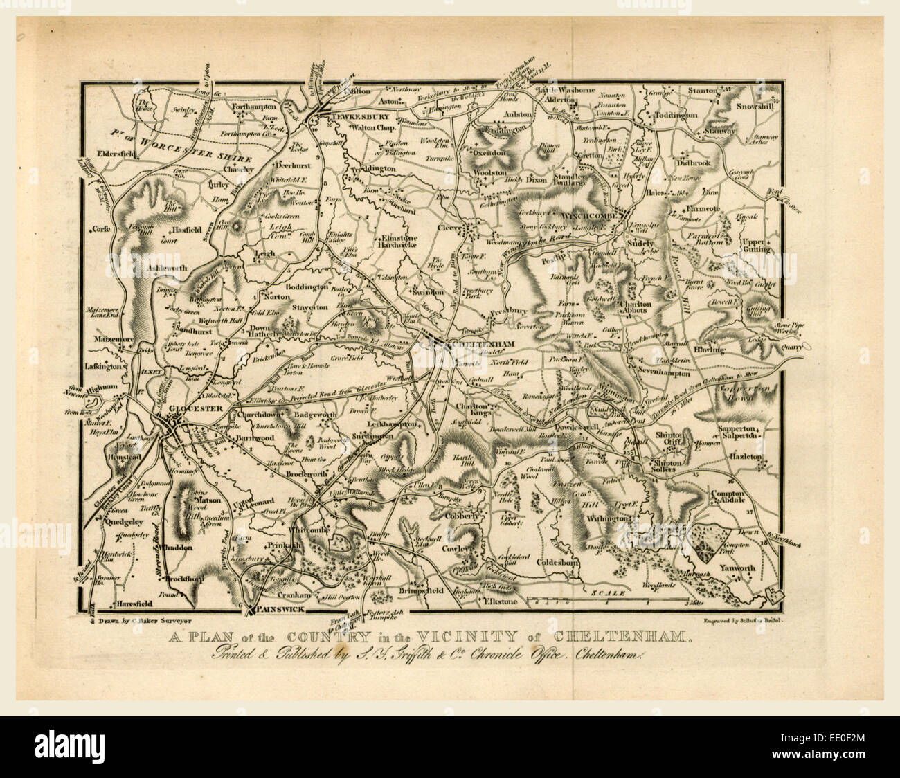 Map, Griffith's new historical description of Cheltenham and its vicinity, 19th century engraving, UK - Stock Image