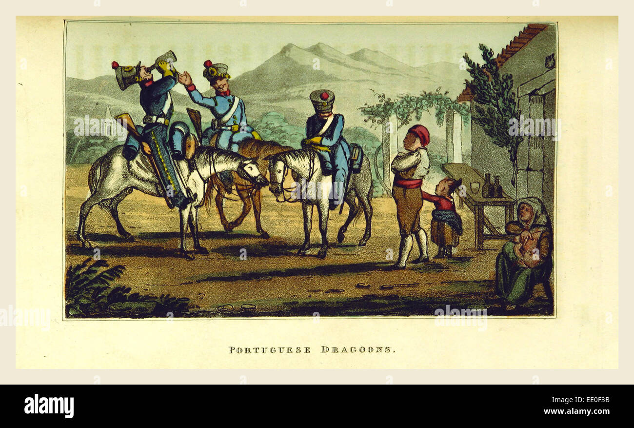 Portuguese Dragoons, Sketches of Portuguese life, manners, costume and character, 19th century engraving, Portugal Stock Photo