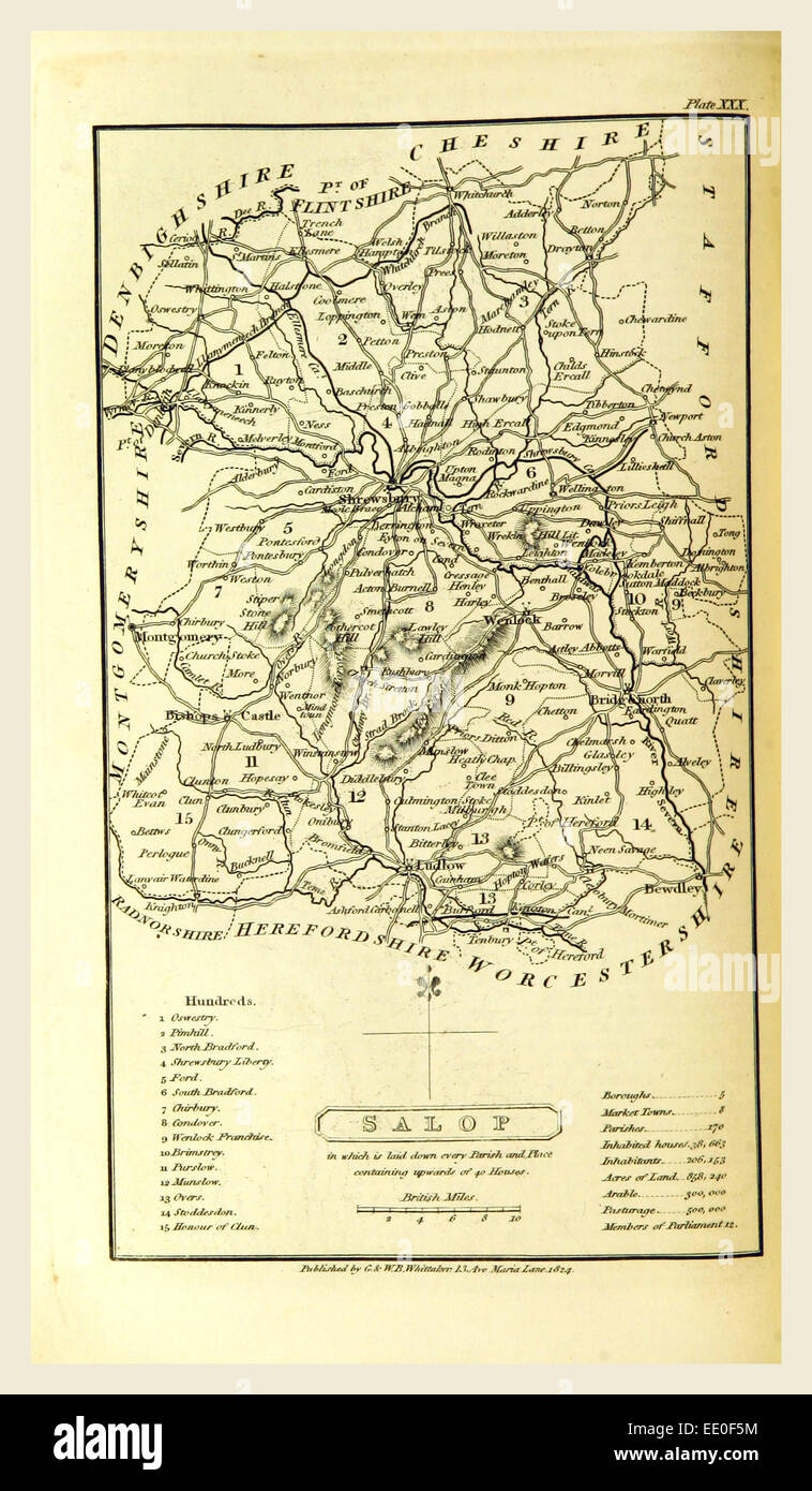 Salop, Shropshire 1824, map, 19th century engraving - Stock Image