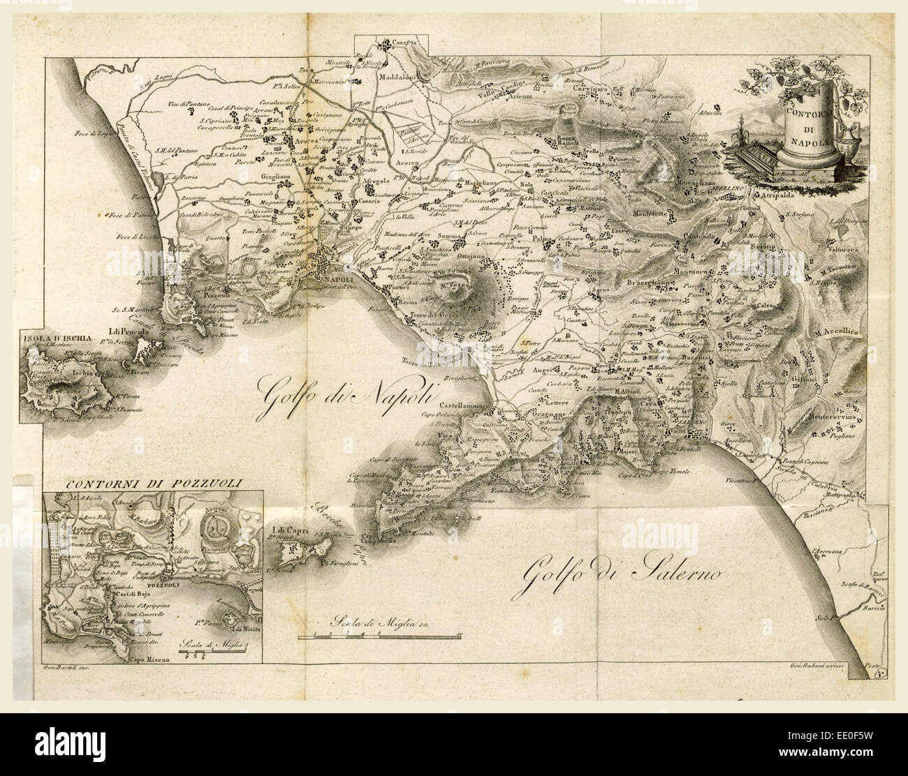 Map of Napels, Golf of Napels, Napoli e Contorni, Editore L. Galanti, Italy, 19th century engraving - Stock Image