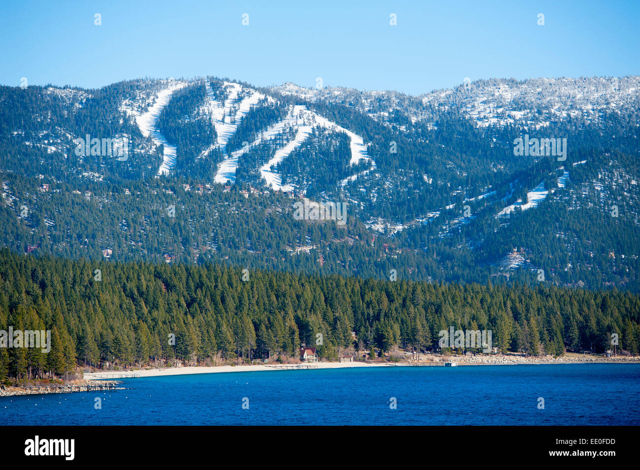 usa nevada nv lake tahoe winter view of incline village and the