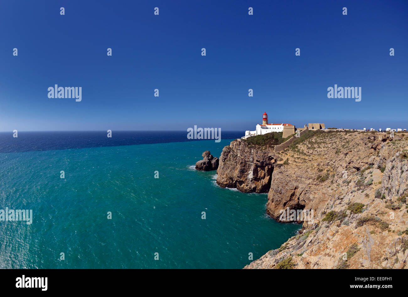 Portugal, Algarve: View of Lighthouse and Cape Saint Vincent at Nature Park Costa Vicentina Stock Photo
