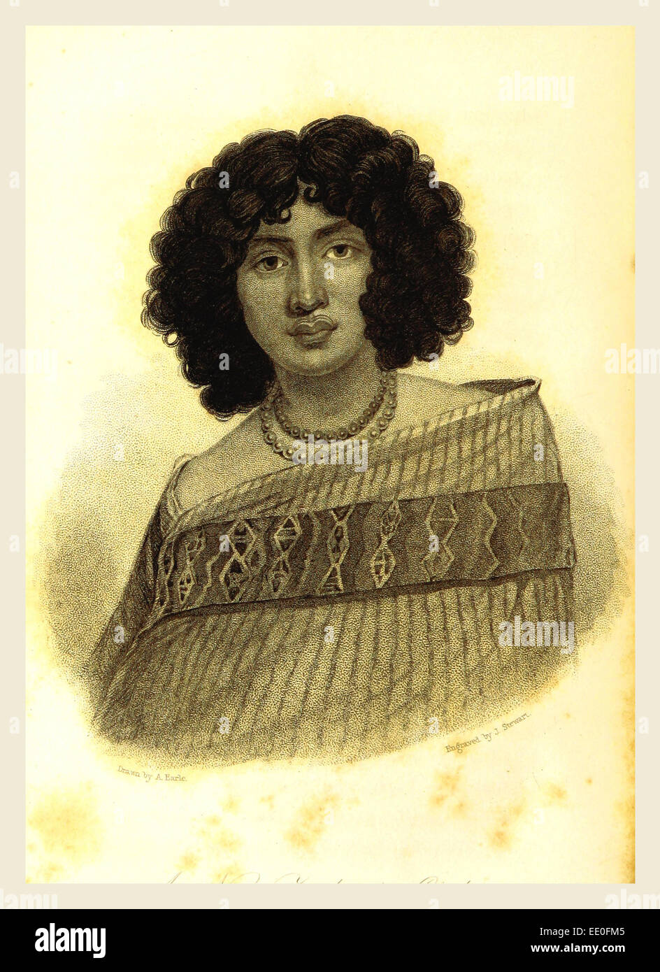 Woman, New Zealand, in 1827, 19th century engraving - Stock Image