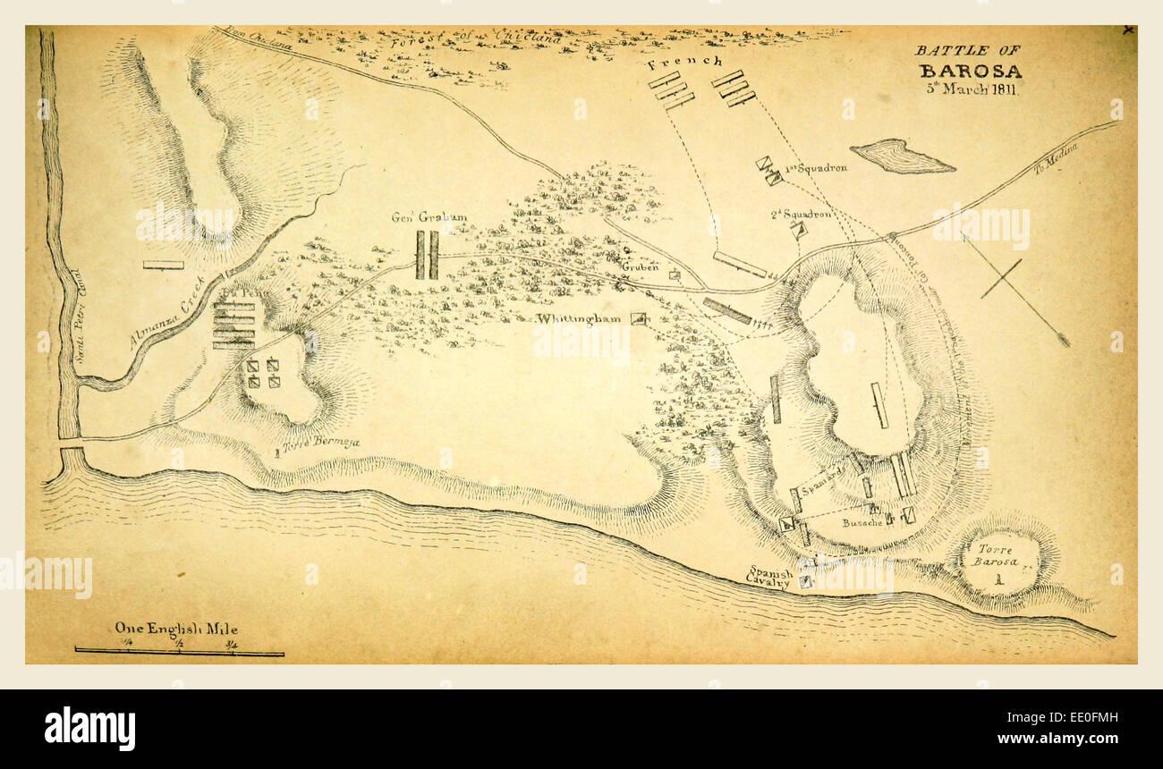 Battle of Barosa map, 1811, 19th century engraving - Stock Image