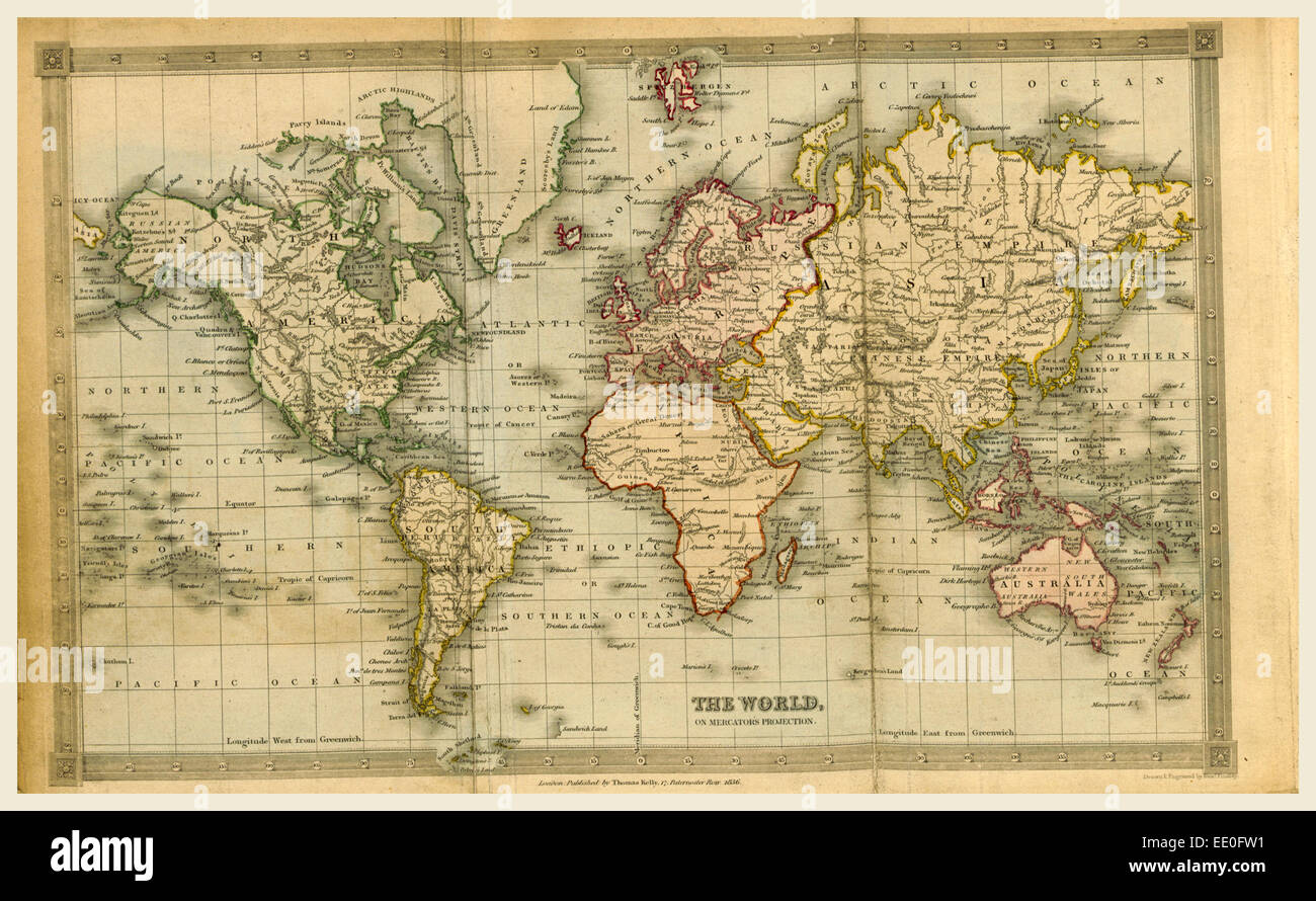 Map of the world 1836, 19th century - Stock Image