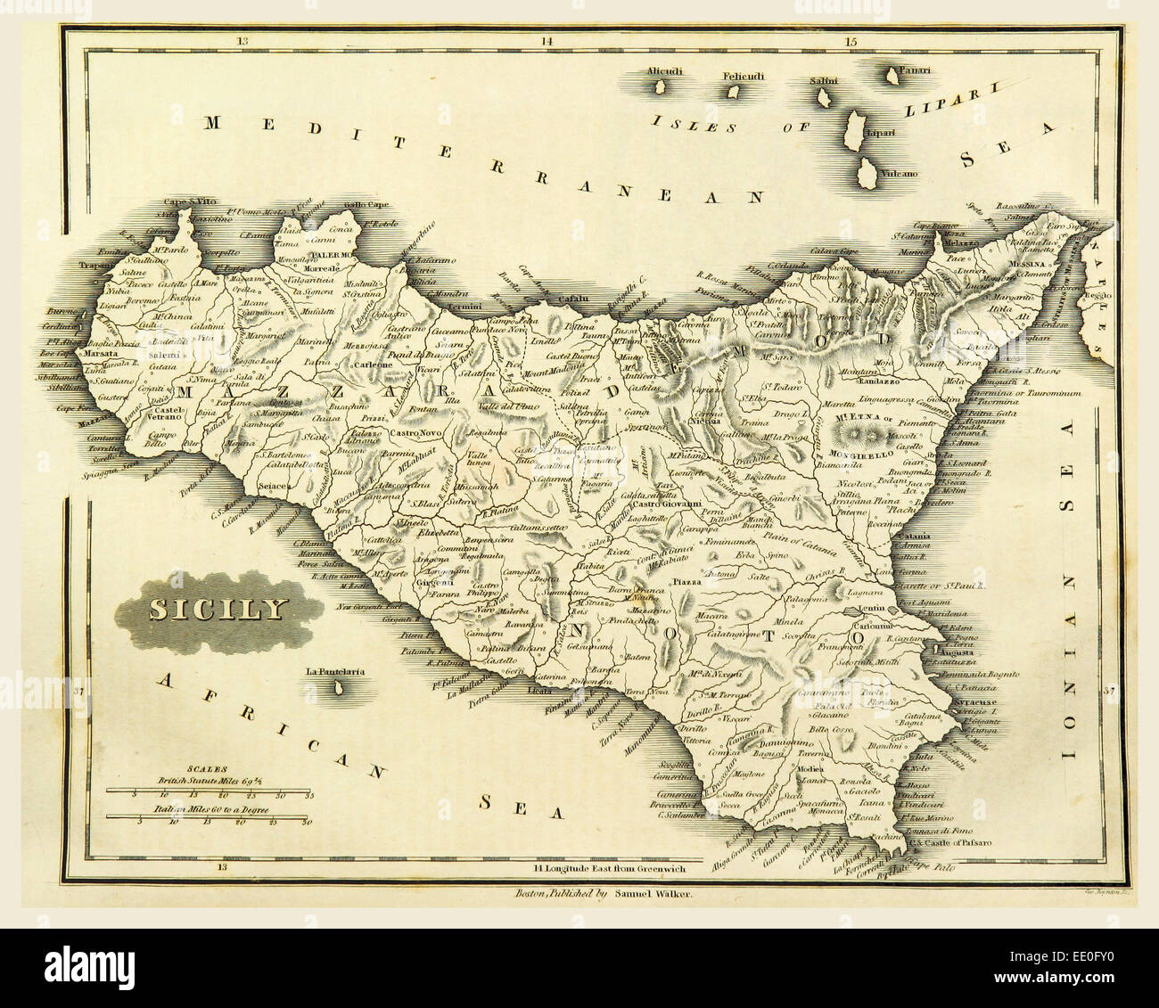 Map Sicily Italy 19th Century Engraving Stock Photo 77459172 Alamy