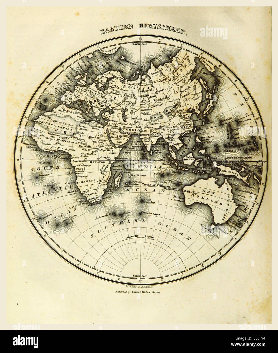 Eastern Hemisphere map, 19th century engraving - Stock Image