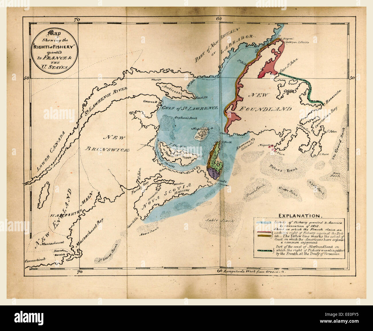 The British North American Colonies. Letters to  E. G. S. Stanley, M.P, upon the existing treaties with France and - Stock Image
