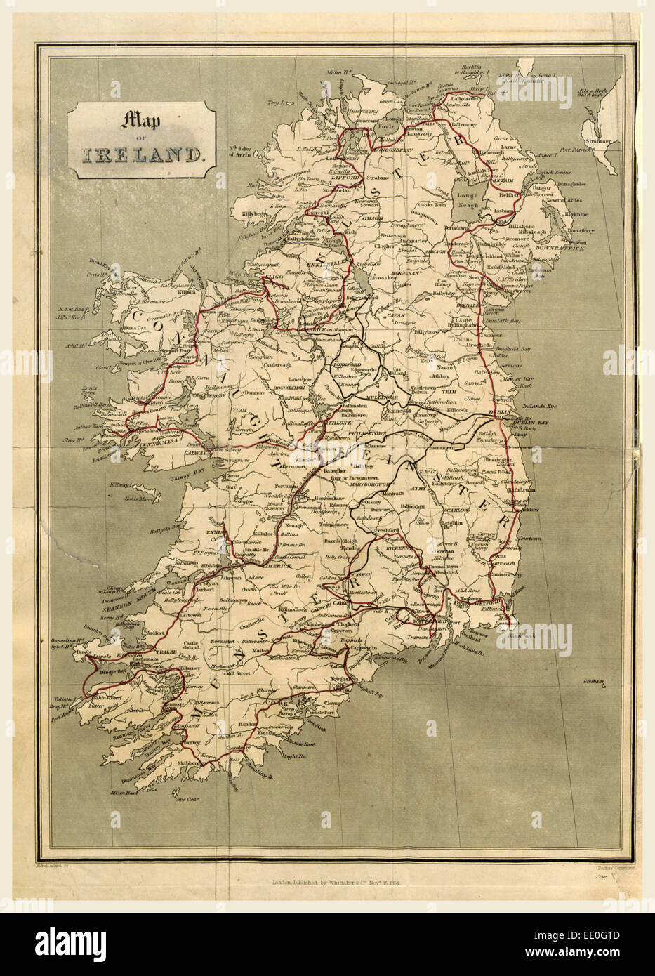 Ireland in 1834, map, 19th century engraving - Stock Image