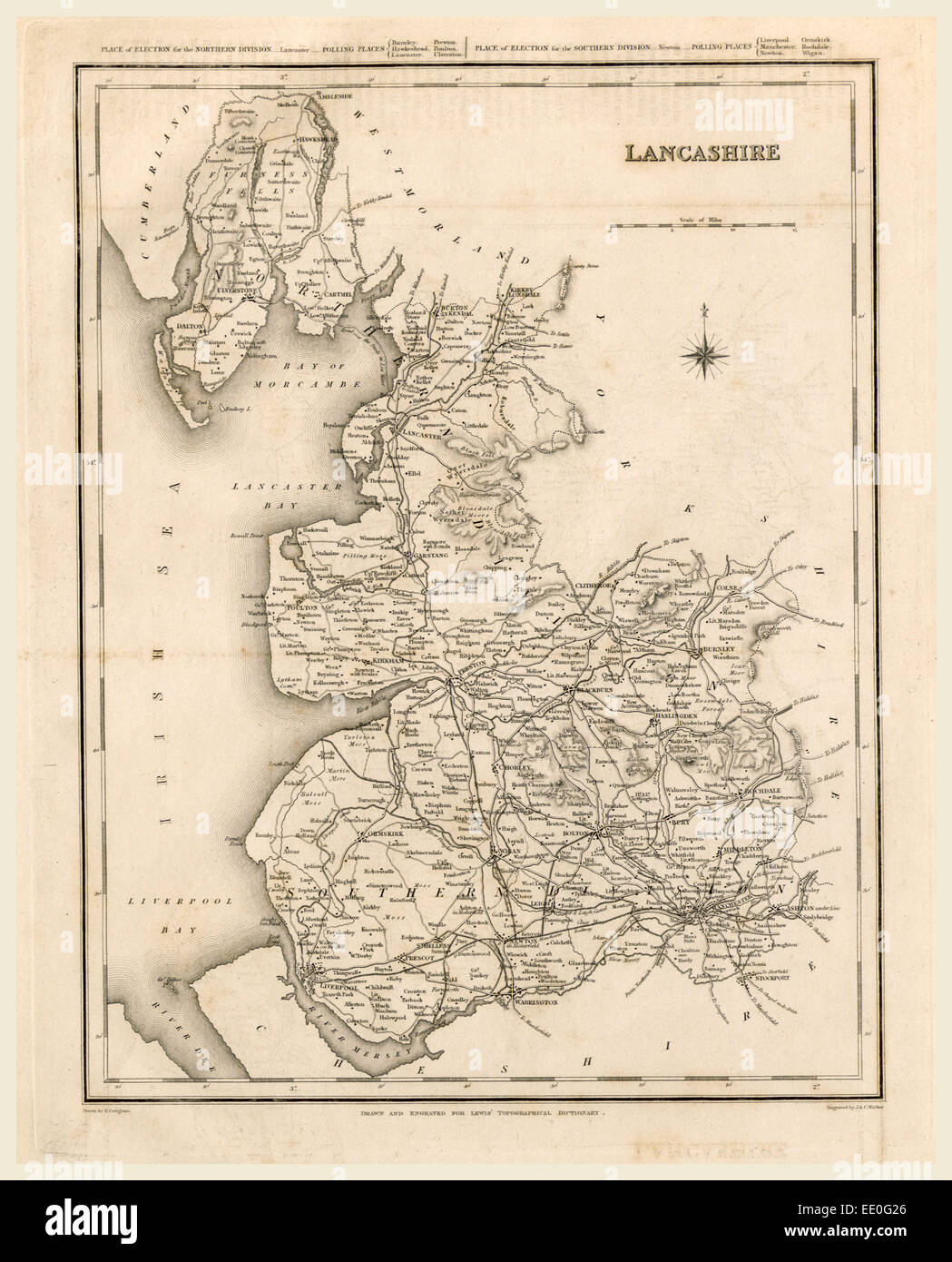 A Topographical Dictionary of England, Lancashire, map, 19th century engraving - Stock Image