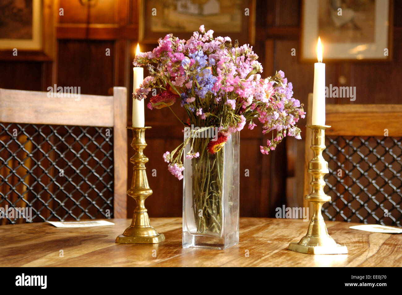 Hotel Dining Table With Flowers And Candles Stock Photo Alamy