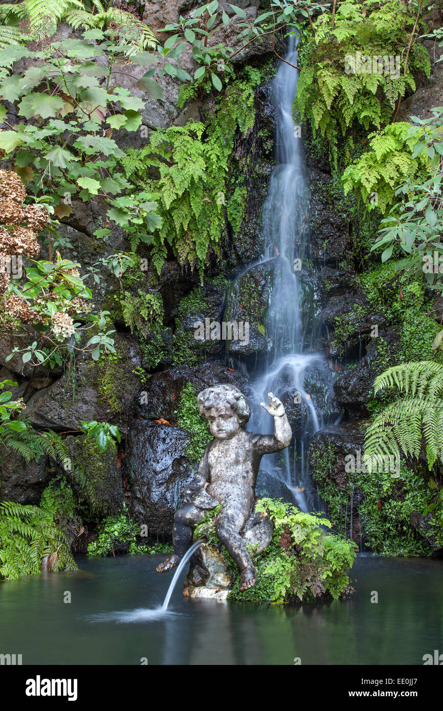 Waterfall and statue, Monte Palace Gardens, Funchal - Stock Image