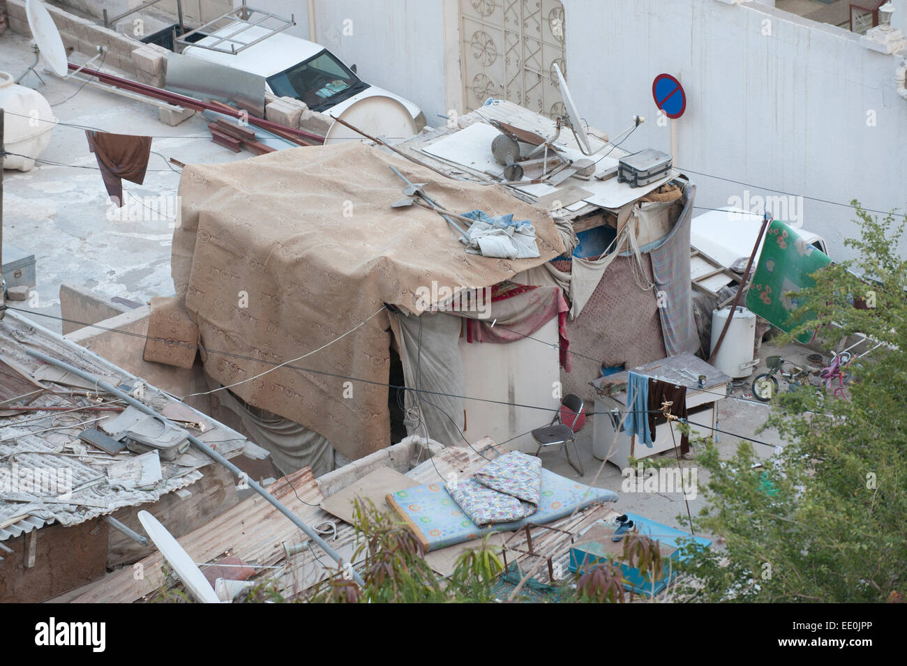 Migrant worker's shack, Old Town Doha, Qatar Stock Photo