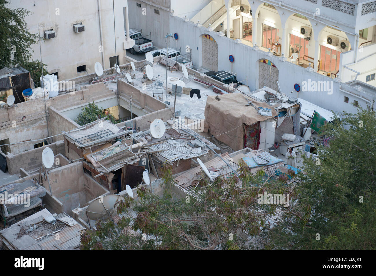 Migrant worker's shacks. Old Town district, Doha, Qatar - Stock Image