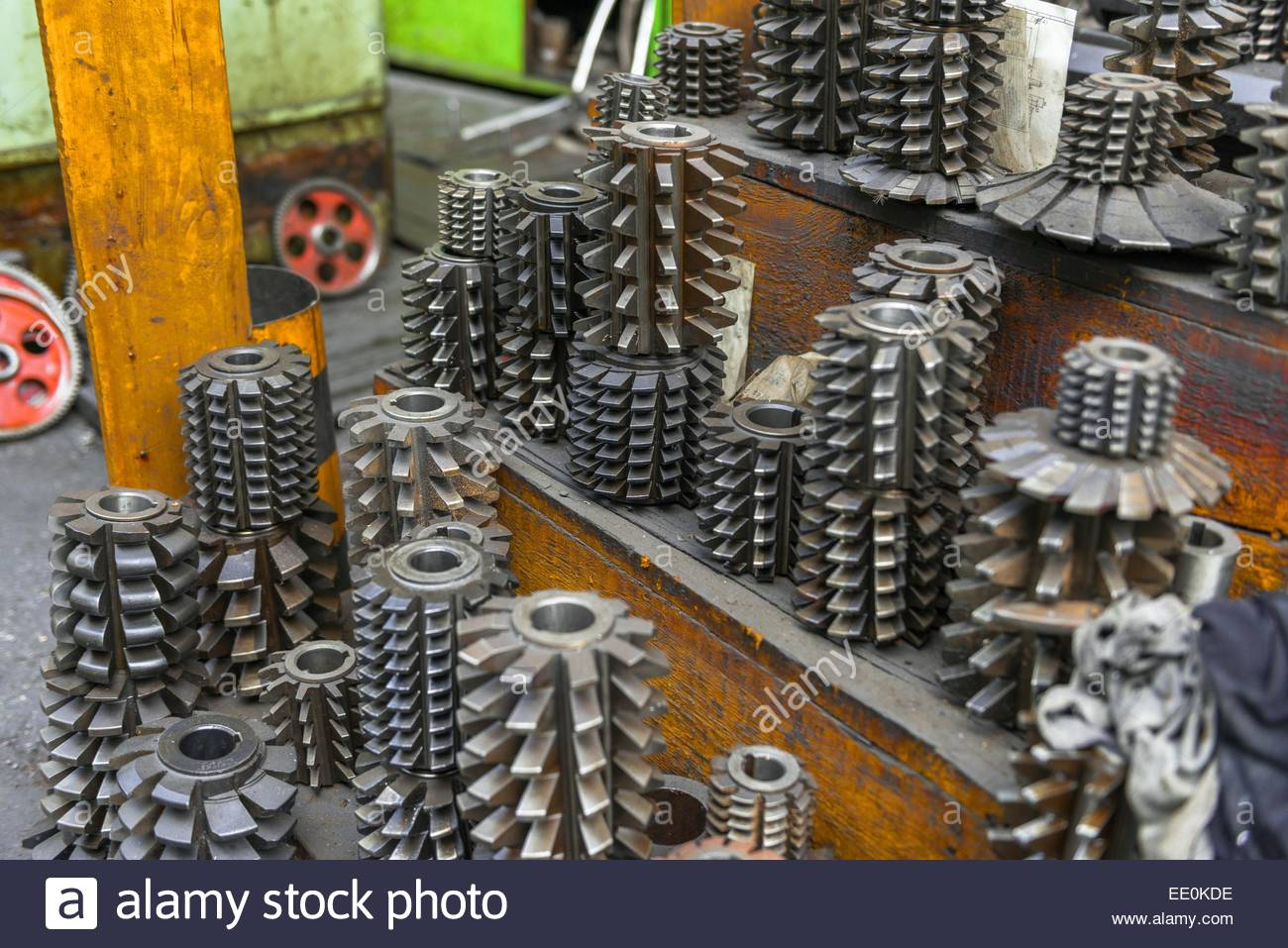 Industrial drill bits stacked up - Stock Image